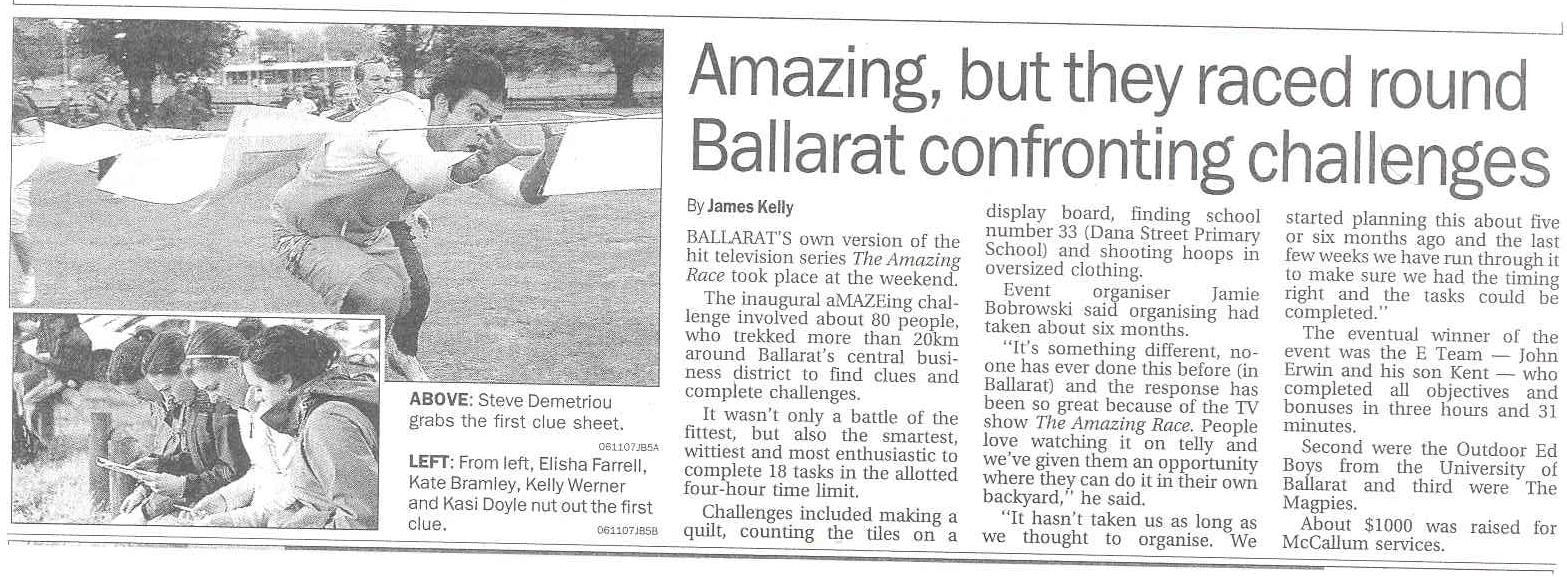Ballarat Courier article on aMAZEing Ballarat 2007