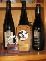 Dale's haul of trophies and wine at the 2013 ACT MTBO National Round 3 in Canberra