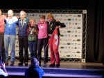 Jenny Bourne on the Podium at the World Masters Orienteering Championships in Brazil, receiving sprint distance Gold in W60. (Photo: John Scown)